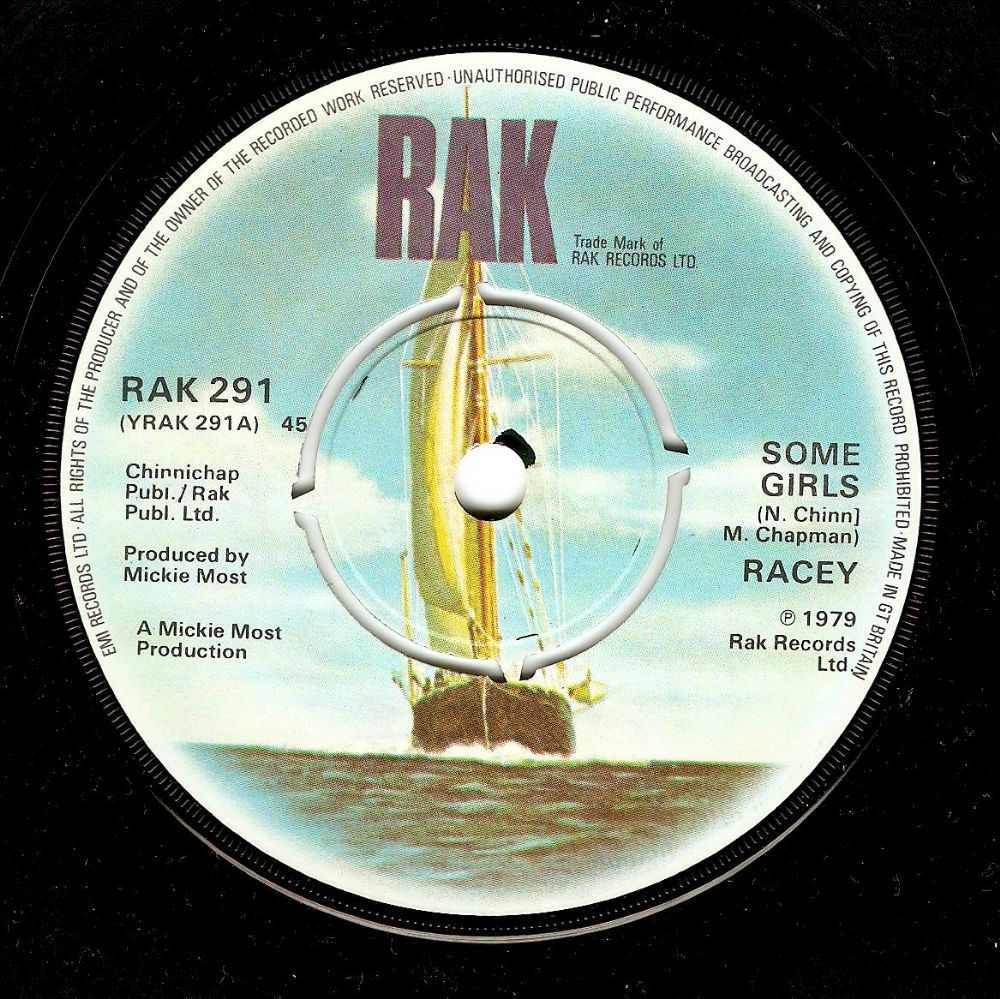 RACEY Some Girls Vinyl Record 7 Inch RAK 1979
